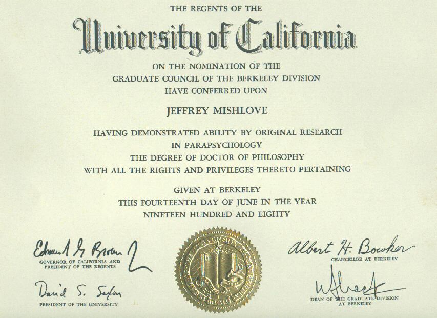 "jeffrey mishlove's doctoral diploma in ""parapsychology"", Human Body"